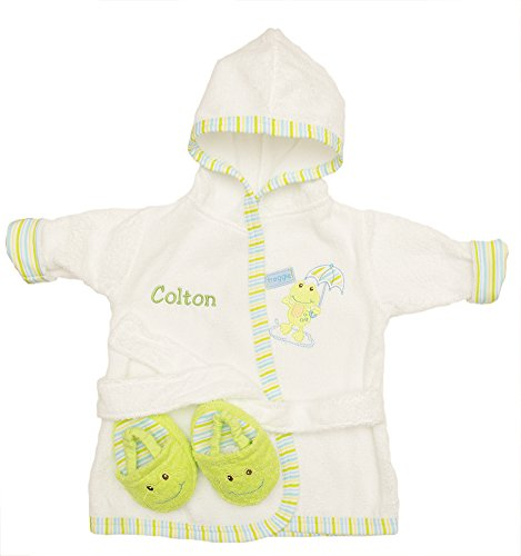 PERSONALIZED Monogrammed Froggie the Frog Hooded Bath Robe & Slipper Set Sz 0-9 -