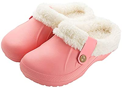 ChayChax Waterproof Slippers Women Men Fur Lined Clogs Winter Garden Shoes Warm House Slippers Indoor Outdoor Mules