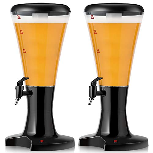 Goplus 2PCS Beer Tower Dispenser 3L Cold Draft Beer Tower Beverage Dispenser with LED Lights & Removable Ice Tube, Perfect for Party Bar Home, Set of 2