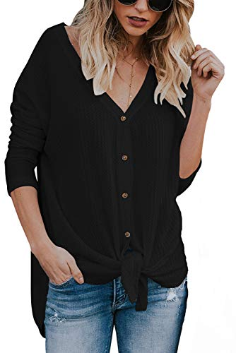 (JOSIFER Women's V Neck Button Down Loose Fitting Shirts Waffle Knit Tunic Blouse,Black,2XL)