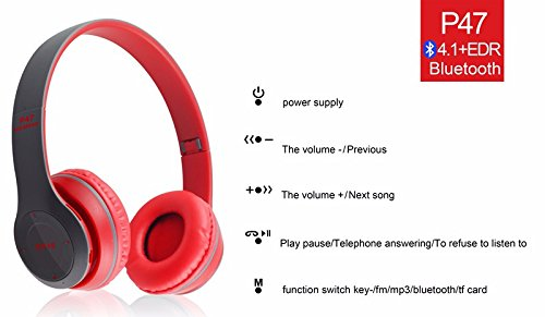 Amazon.com: Wireless Headphones, P47 Bluetooth Over Ear Foldable Headset with Microphone Stereo Earphones 3.5mm Audio Support FM Radio TF for PC TV Smart ...