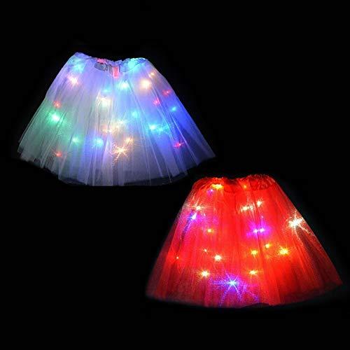 Girl Tutu Skirts,Magic Light Princess LED Dancing Skirt Luminous Christmas Party Stage Cute Tulle Ballet Children Girl Costume JIEHED LED Dancing Skirt