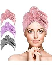 URAQT Haar Drogen Handdoeken, 3 Stks Microfiber Haar Bad Handdoek voor Vrouwen, Super Absorberend Snel Droge Haarhanddoek Wrap met Knop Ontwerp voor Lang Gekruld Haar