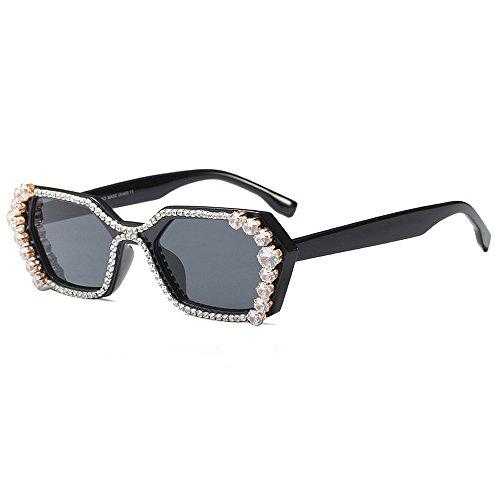Tonos de de Gafas ULTRAVIOLETA de de la lujo negras mujeres de del conducción polígono de la sol la las de protección Gafas de para Gafas la s cristal irregular de moda sol lujo personalidad de de sol rvwaqrB