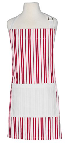 Handstand Kitchen Child's 100% Cotton Classic Red Stripe Apron with Wide Double Pocket by Handstand Kitchen