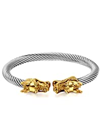 JewelryWe Mens Dragon Bracelet Stainless Steel Twisted Cable Bangle Cuff Bracelet Elastic Adjustable, Silver Color Polished