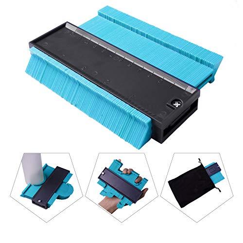 unctional Contour Profile Gauge Plastic Contour Duplicator Edge Shaping Measure Ruler with storage bag for Tiling Laminate Woodworking Practical Tool,Blue ()