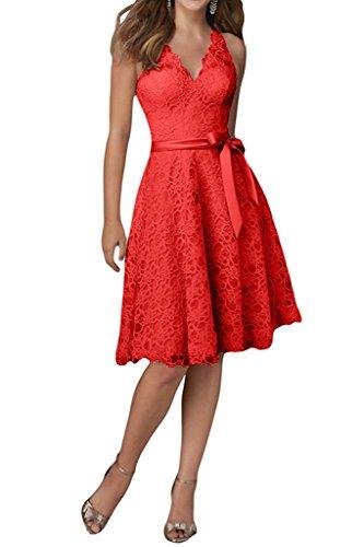 Bowknot Sch Ausschnitt V Kleider reizvolle Abschlussball Spitze Kleid Frauen rpe K Abend HWAN einfacher Rot mit Bxf7FB