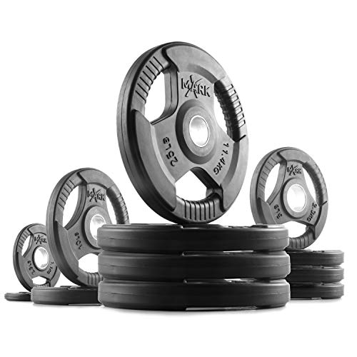 (XMark TRI-Grip 145 lb Set Olympic Weights, Premium Rubber Coated Olympic Plates, One-Year Warranty)