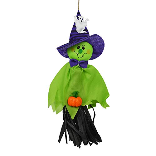 Ghost Windsock Halloween Party Decoration Hanging, Spook Pumpkin Fly Witch Scarecrow Doll for Front Yard Patio Lawn Garden Party Decor and Holiday Decorations Themed 1 pcs (Green) ()