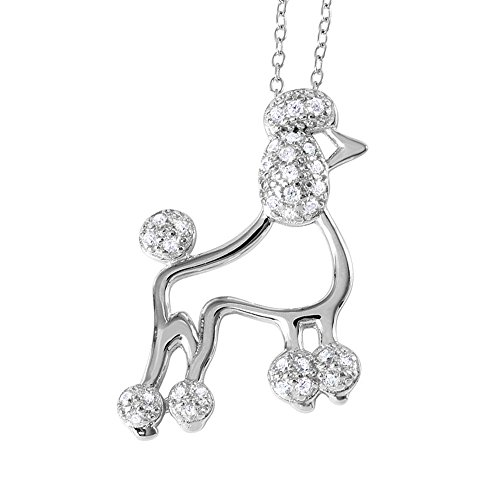 DTLA Fine Jewelry Sterling Silver Poodle Charm Necklace with Cubic Zirconia and 18