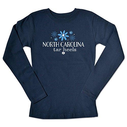 - College Kids NCAA North Carolina Tar Heels Girls Long Sleeve Tee, Size 10-12/Medium, Navy