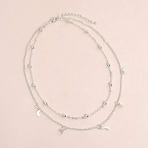 Necklace Opeof Fashion Women Charm Jewelry Multi-Layer Moon Stars Pendant Chain Choker Necklace - ()