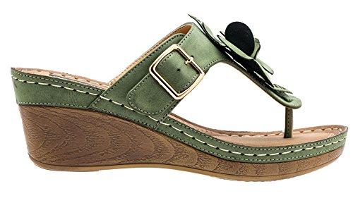 Gc Sko Kvinders Sydney Roset Slide Kile Sandaler Grøn Fl 8HNItyE0g