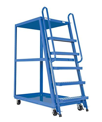 Vestil SPS-HF-2852 Hi-Frame Stockpicker Trucks, Steel, 1000 lbs Capacity, overall W x L x H (in.) 27-7/8 x 56-1/8 x 73-1/8, bottom shelf width/length (in.) 27-1/2 x 51, top shelf height (in.) 65-13/16, step spacing (in.) 10, 3 Shelves (Stockpicker Truck)