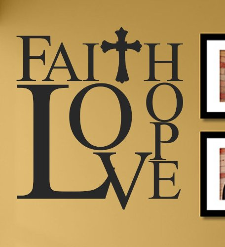 Faith Hope Love with cross Vinyl Wall Decals Quotes Sayings Words Art Decor Lettering Vinyl Wall Art Inspirational Uplifting (Faith By Crosses)