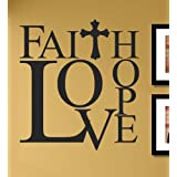 Faith Hope Love with cross Vinyl Wall Decals Quotes Sayings Words Art Decor Lettering Vinyl Wall Art Inspirational Uplifting