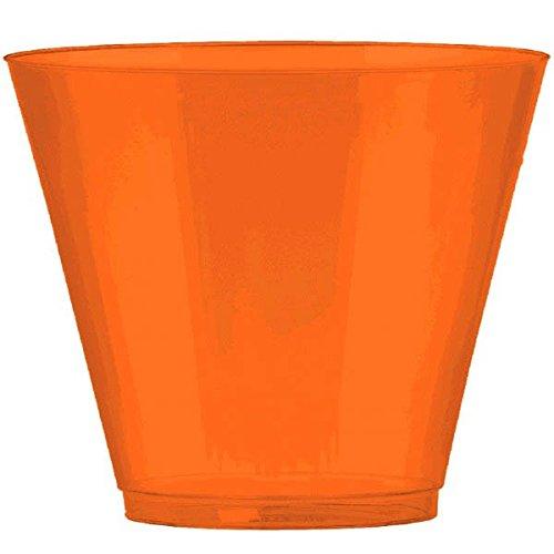 Amscan Big Party Pack Peel Plastic Cups, 9 oz., Orange 72 count