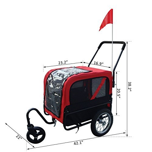 2 in 1 Pet Carrier Dog Bike Bicycle Trailer Stroller Jogging w/ Swivel Wheel