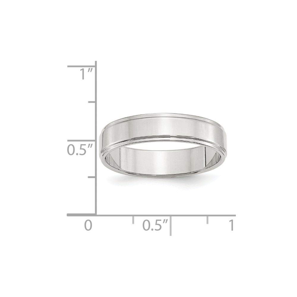 .925 Sterling Silver 5 Mm Flat With Step Edge Wedding Band Ring Jewelry & Watches Bridal & Wedding Party Jewelry