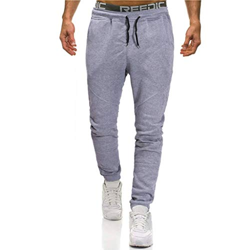 Legs Birthday Bath (Gallity Men's Overalls Pants Soft Stretch Slim Fit Trousers Work Running Trousers with Pocket (L, Gray))