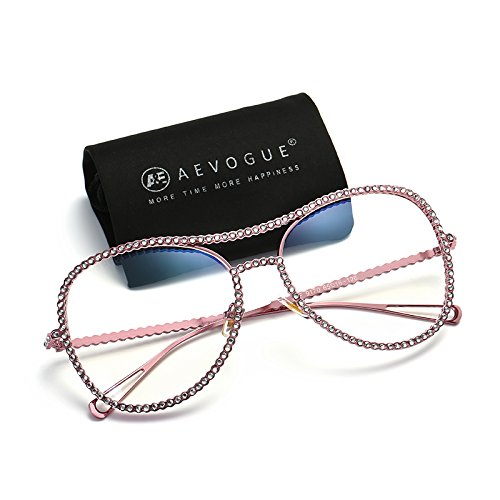 AEVOGUE Aviator Sunglasses For Women Goggles Rhinestone Decorated Frame Safety Glasses AE0470 (Pink, - Frames Glasses Rhinestone
