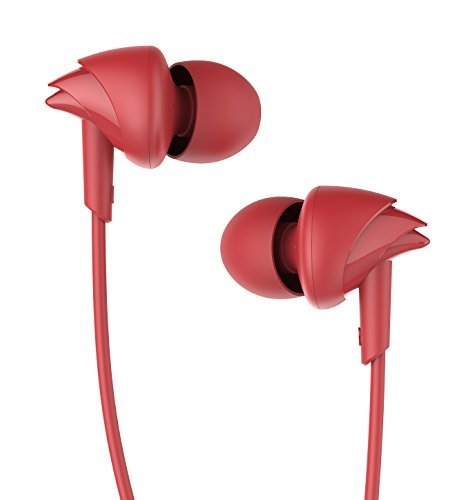 UiiSii C200 in Ear Headphones with Mic Earphones Stereo Earbuds Bass 3.5mm Jack Headset for Apple iOS and Android Computer PC Tablet(Red)