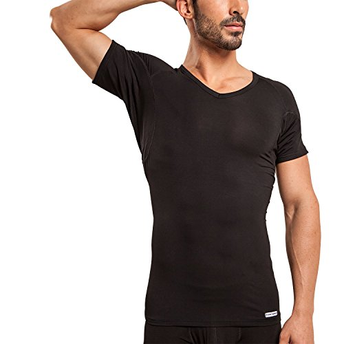 Ejis Men's Sweat Proof Undershirt, V Neck, Anti-Odor Silver, Micro Modal, Sweat Pads (Medium, Black)