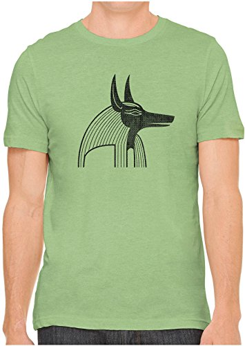 Unisex Mens Anubis Egyptian Jackal Headed God Hand Screen Printed Fitted Cotton T-Shirt, Leaf Green, (Ink Green T-shirt)