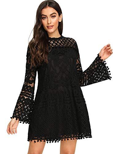 SheIn Women's Crochet Pom-Pom Sheer Lace Bell Sleeve Dress X-Small Black