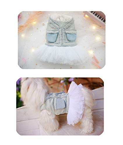 (Khemn KZ Designer Sleeveless Ripped Distressed Denim Top White Tulle Tutu Pet Dress, Layered Skirt Outfit with Snaps for Chihuahua Pomeranian Yorkie Maltese Poodle Small Dogs & All Cats (XL))