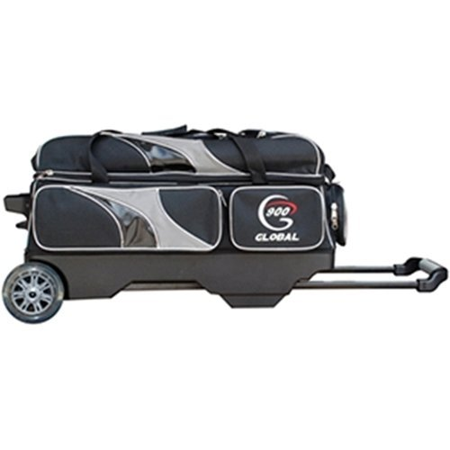 900 Global Deluxe 3 Ball Roller Bowling Bag- Black/Silver