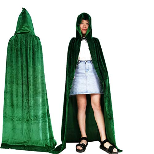 Kurop Womens Full Length Velvet Hooded Cape Halloween Costume Cloak Vampire Magician Wizard -