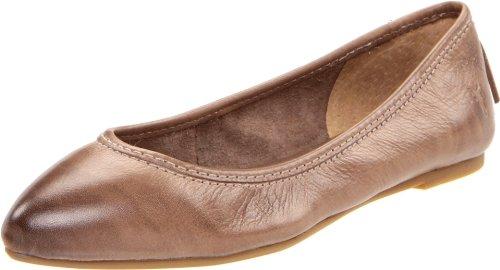 Vintage Logo Flat (FRYE Women's Regina Ballet Flat, Grey Soft Vintage Leather, 6.5 M US)
