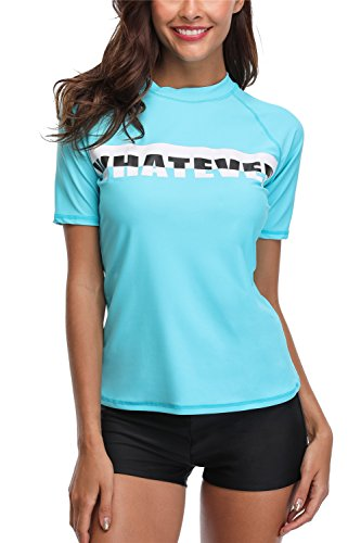 ALove Womens Surf Rashguard Tops Swimming Suit Short Swim Shirt Wetsuit Aqua Large