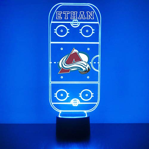 Colorado Handmade Acrylic Personalized Avalanche Hockey Rink LED Night Light - Remote, 16 Color Option, Great Personalized Gift, Engraved