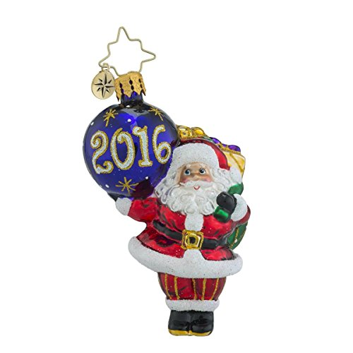 Christopher Radko My Favorite Year Dated 2016 Little Gem Santa Christmas Ornament
