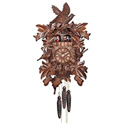 River City Clocks One Day Musical Cuckoo Clock with Hand Carved Birds, Leaves, and Chicks in Nest