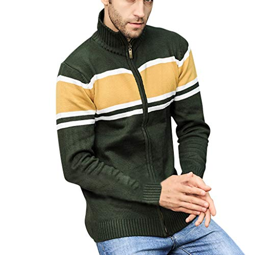 WUAI-Men Coat Winter Warm Casual Stand Collar Cable Knitted Zip-up Cardigan Sweater Jacket(Green,US Size XL = Tag 2XL)
