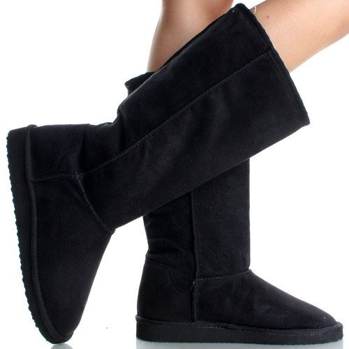 - Soda Women's Soong Black Comfort Eskemo Faux Suede Fur Mid- Calf Flat Boot (8)