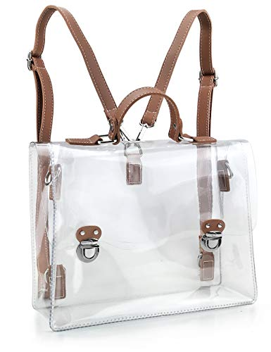 Satchel Clear Handbag - Hoxis Clear Vintage Satchel Backpack Multifunction Unisex Transparent Shoulder Handbag Messenger Cross Body Bag, NFL & PGA & NHL Stadium Approved