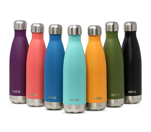 MIRA 17 Oz Stainless Steel Vacuum Insulated Water Bottle   Leak-Proof Double Walled Powder Coated Cola Shape Bottle   Keeps Drinks Cold for 24 Hours & Hot for 12 Hours   500 ml Teal