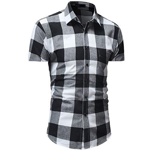 Men Button Down Shirt Short Sleeve Casual Plaid Print Basic Shirt Top Blouse (M, Gray)