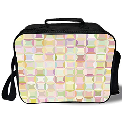 Pastel 3D Print Insulated Lunch Bag,Retro Pattern with Polka Dots Overlapping Ring Shapes Squares Colorful Funky Print Decorative,for Work/School/Picnic,Multicolor