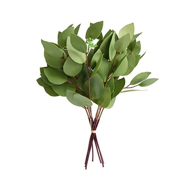 Artificial Seeded Eucalyptus Leaves Spray Faux Greenery Picks Wedding Home Decor Flower Arrangement Bouquet Filler (B)