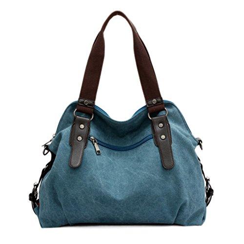 Umily Damen Handtasche Tasche Canvas lange Henkel für die Schulter Schultertasche Umhängetasche Henkeltasche-Blau Helles Lila
