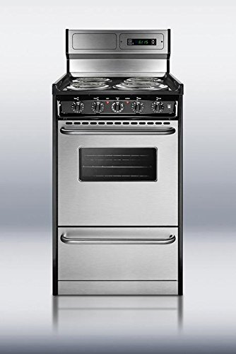 20 Inch Electric Range - Summit TEM130BKWY Kitchen Cooking Range, Stainless Steel