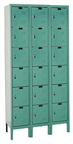 Hallowell U3288-6A-GM Premium Box KD Metal Locker, Unassembled, 3-Wide Grouping, 6 Tier, 12