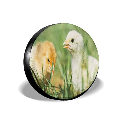GULTMEE Tire Cover Tire Cover Wheel Covers,Close Up Photo of Two Little Chicken in Grass Nature Print,for SUV Truck Camper Travel Trailer Accessories(14,15,16,17 Inch) 15