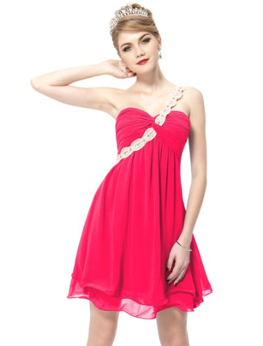 HE03321HP06 Hot Pink 4US Ever Pretty One Shoulder Short Wedding Dresses 03321